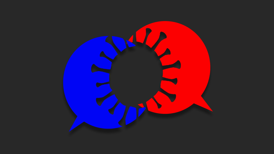 An illustration of a red and blue speech bubbles overlapping to form a coronavirus shape.