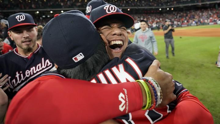 Washington Nationals team members hugging