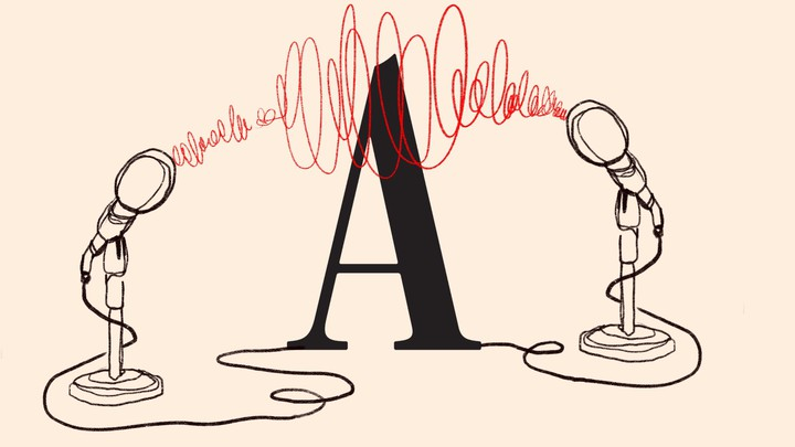 An illustration of two microphones surrounding the Atlantic 'A' logo