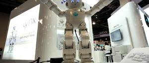 Lynx robot with Amazon Alexa on display in Las Vegas