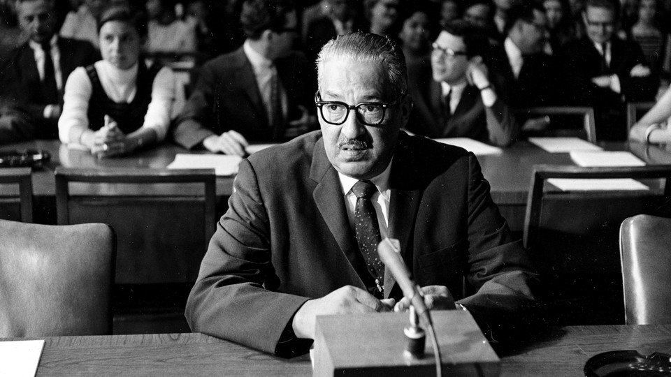 Solicitor General Thurgood Marshall testifies before the Senate Judiciary Committee in his confirmation hearing for the Supreme Court