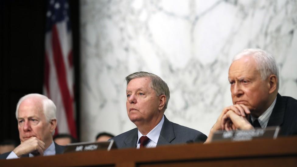Senators John Cornyn, Lindsey Graham, and Orrin Hatch at the Brett Kavanaugh hearings