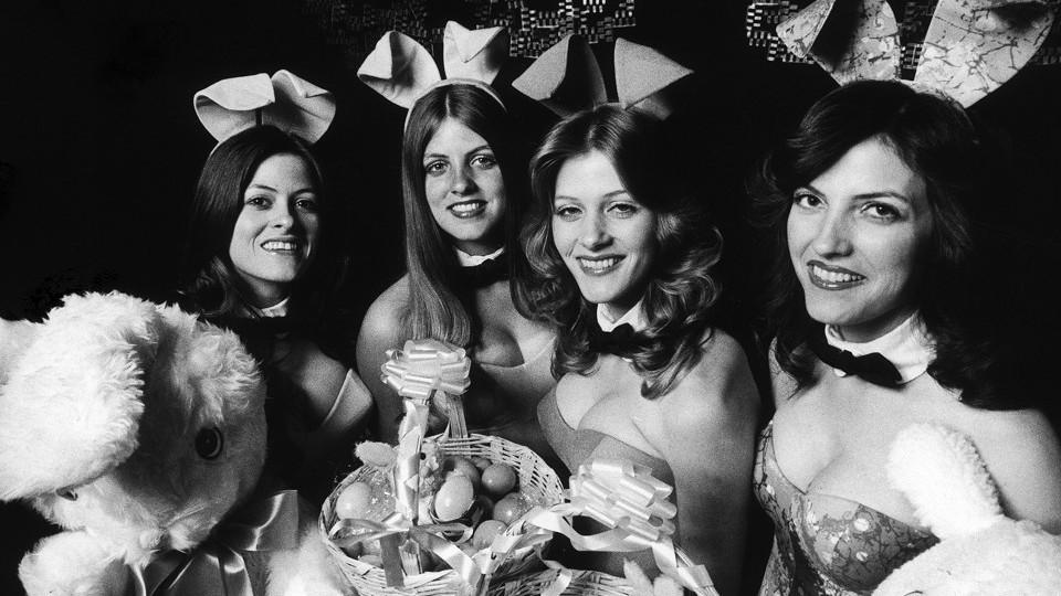 Four Playboy Bunnies from the Dallas Playboy Club in 1978
