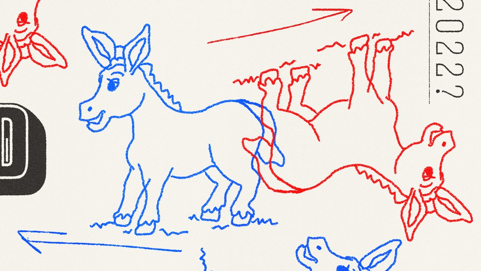 A blue donkey and a red upside-down donkey