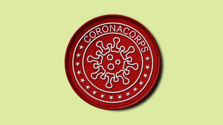 "An illustration of a fabric patch with the word ""CoronaCorps"" embroidered on it"