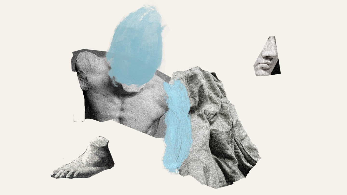 A collage of images of a statue of a man, with a blue finger-print smudge over his face and another off to the side