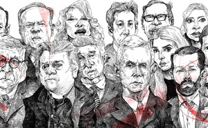 Pen and ink drawings of 14 of Trump's very best associates
