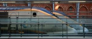 Eurostar trains on the platform at London St Pancras Station.