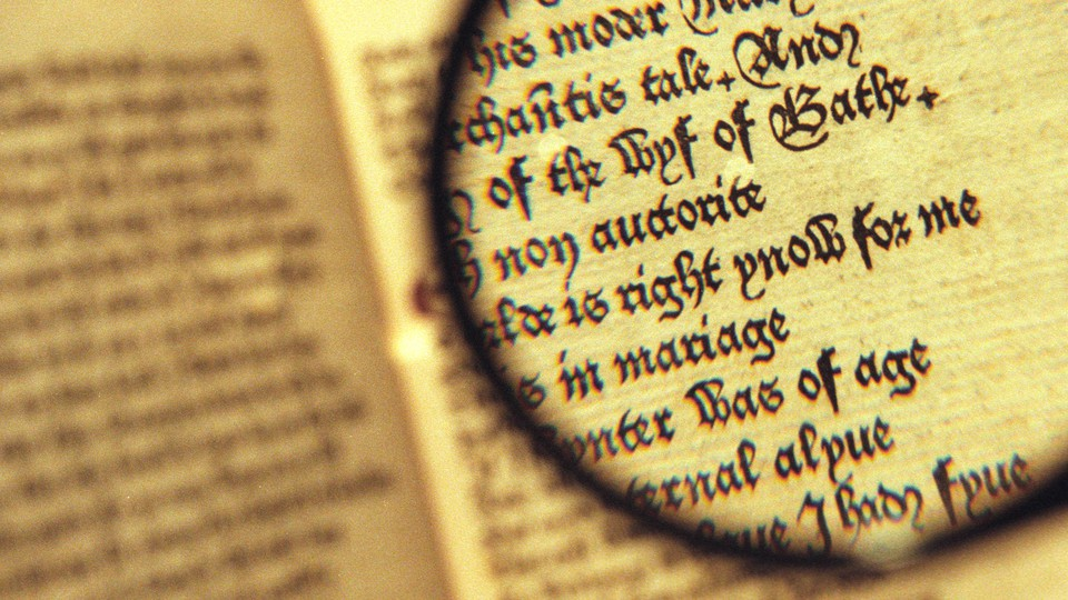 """A magnifying glass hovers over an open copy of """"The Canterbury Tales"""""""