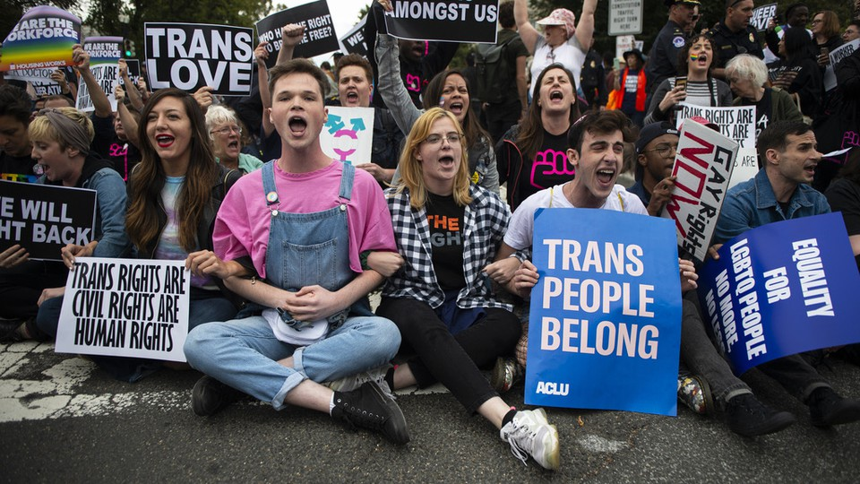 A protest supporting trans youth