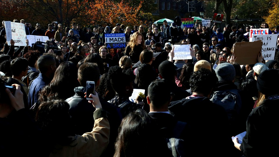 Students protest against Trump in Manhattan, New York