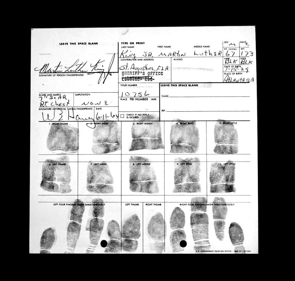 King's fingerprint record, 1964
