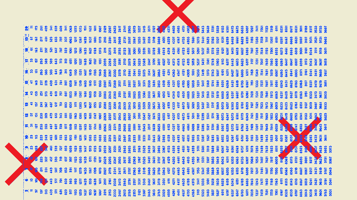 An illustration of blue rows and red Xs.