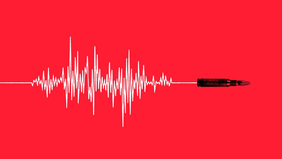 Illustration of sound waves and a bullet