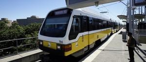 A photo of a DART light rail train in Dallas, Texas.
