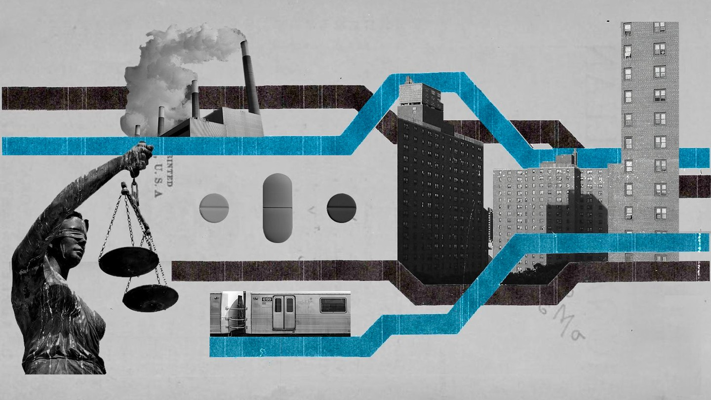A blue-and-gray illustration shows a subway car, apartment buildings, and other images from city life.