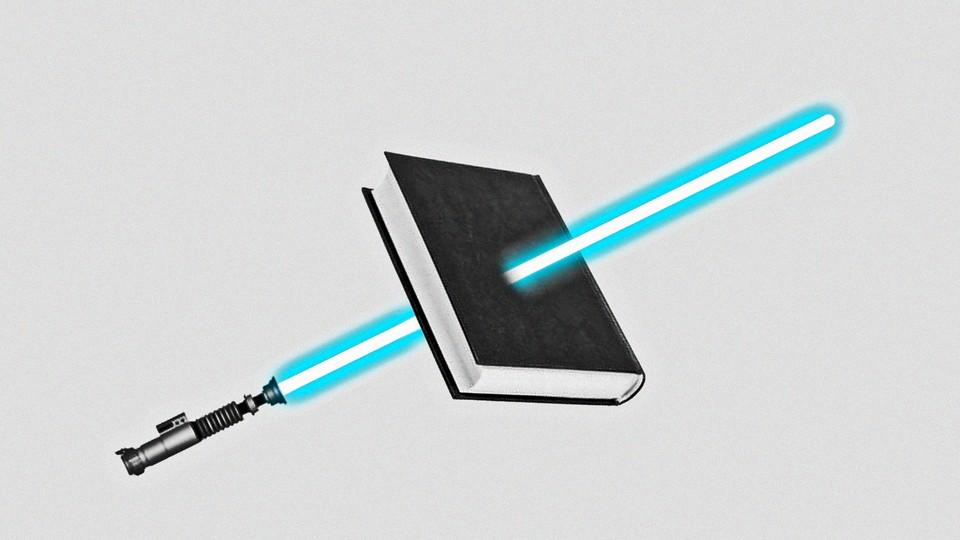 illustration of a lightsaber piercing a book