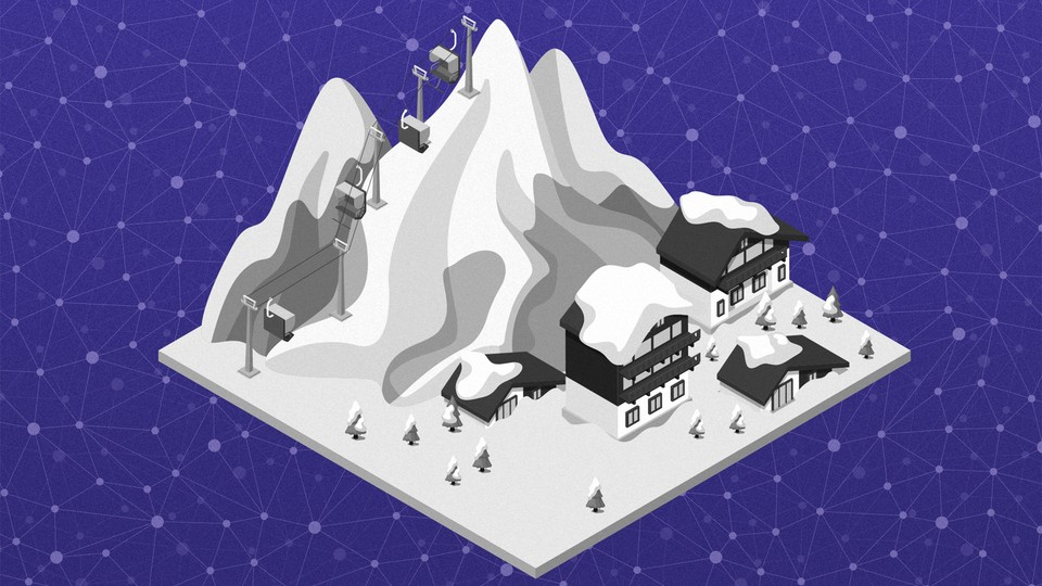 A computer graphic illustration of a small ski resort against a purple background