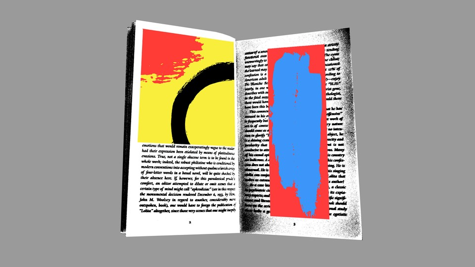 An illustration of a book with colorful illustrations: a red blotch and black circle against a yellow background on one page, and a blue smear against red on the other