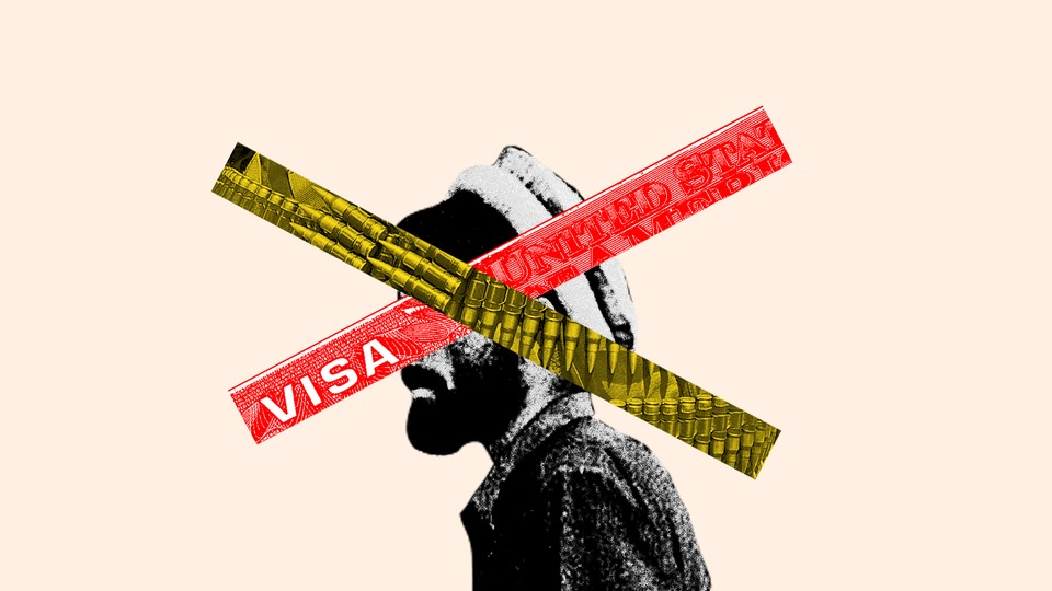 An illustration of an Afghan soldier with an X over his face. Half of the X is covered in bullets; the other half is a section of a U.S. visa.