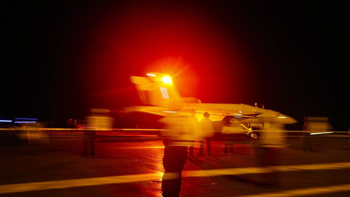 Aboard a U.S. Navy aircraft carrier in the Red Sea