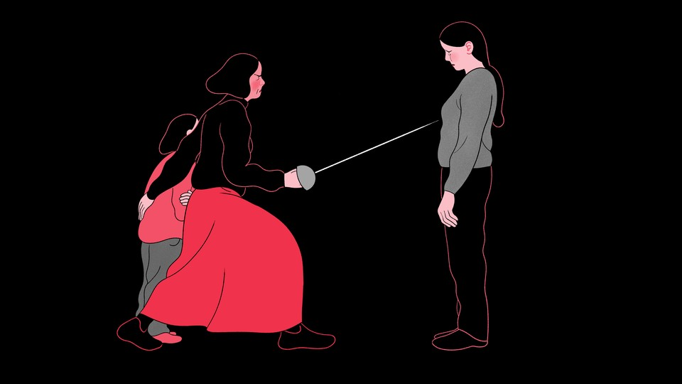An illustration of a woman guarding a child and pointing a fencing saber at another woman