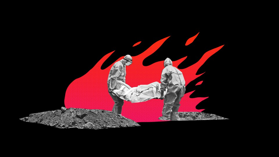 An illustration of two people in protective gear carrying a body bag, with fire in the background