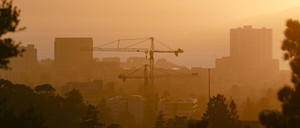 photo: Cranes on the skyline in Oakland, California