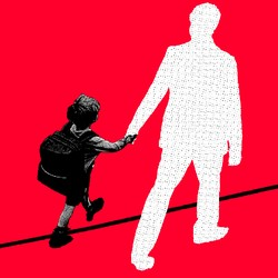 An illustration of a child holding hands with a silhouetted adult