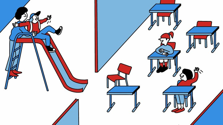 An illustration of a parent pushing a kid down a slide that leads into a classroom