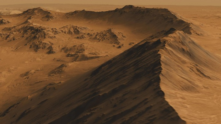 A simulation of a Martiancraterbased on images from NASA's MarsReconnaissance Orbiter