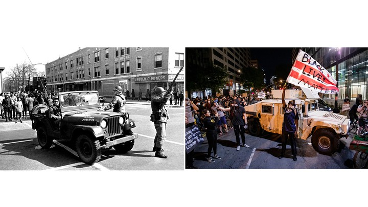 Left: National Guardsmen on a street in Chicago on April 6, 1968, two days after the assassination of Martin Luther King Jr. Right: Protesters gather around a National Guard vehicle on a street in Washington, DC on June 2, 2020, just over a week after the killing of George Floyd.