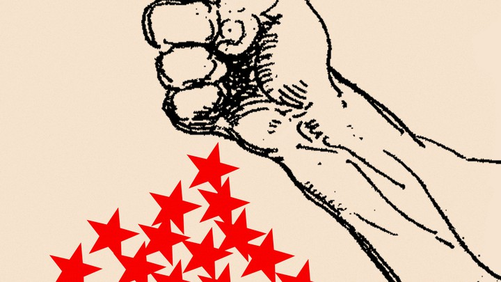 An illustration of a fist and red stars.