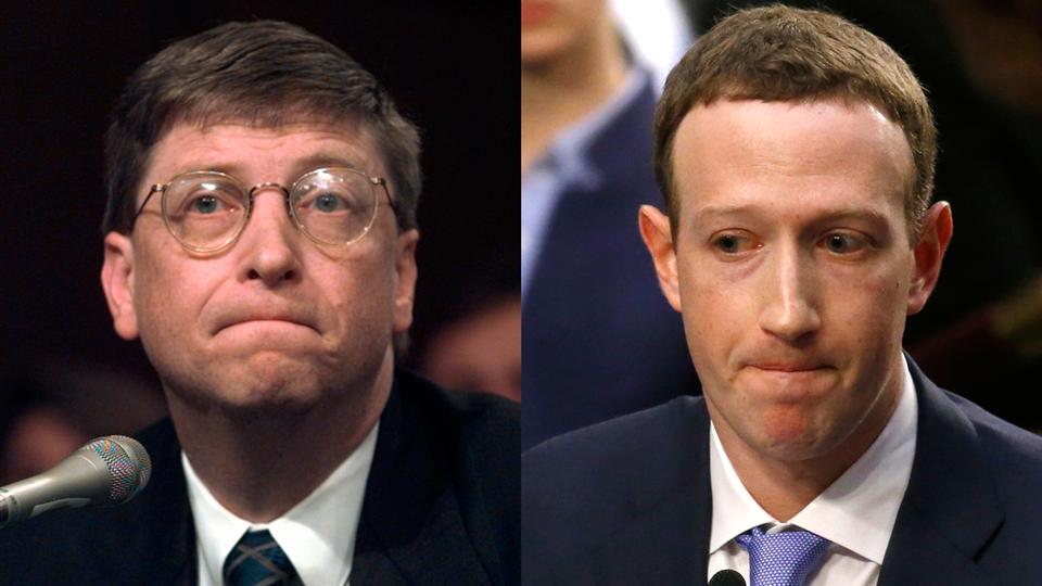 Bill Gates and Mark Zuckerberg testify before Senate committees, 1998 and 2018