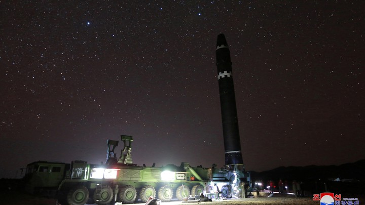 A view of the newly developed intercontinental ballistic rocket Hwasong-15.