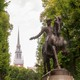 Photo of Paul Revere statue with Old North Church in background