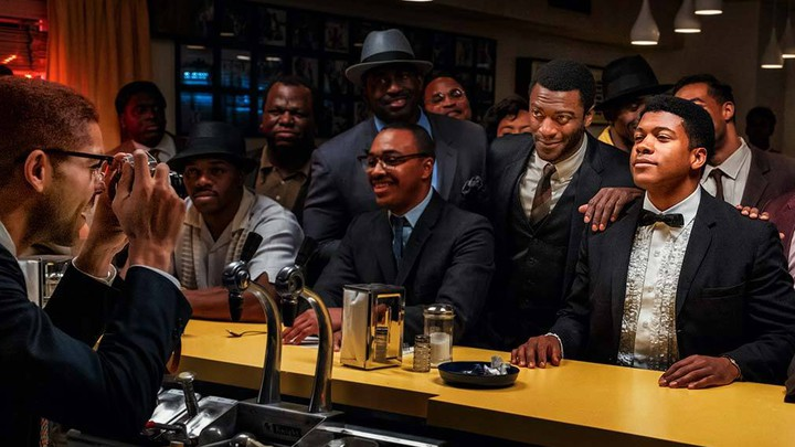 Men dressed in 1960s attire sitting at a bar