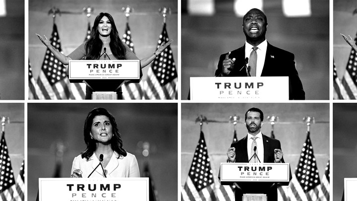 Clockwise from top right: Tim Scott, Donald Trump Jr., Nikki Haley, and Kimberly Guilfoyle speaking at the 2020 RNC.