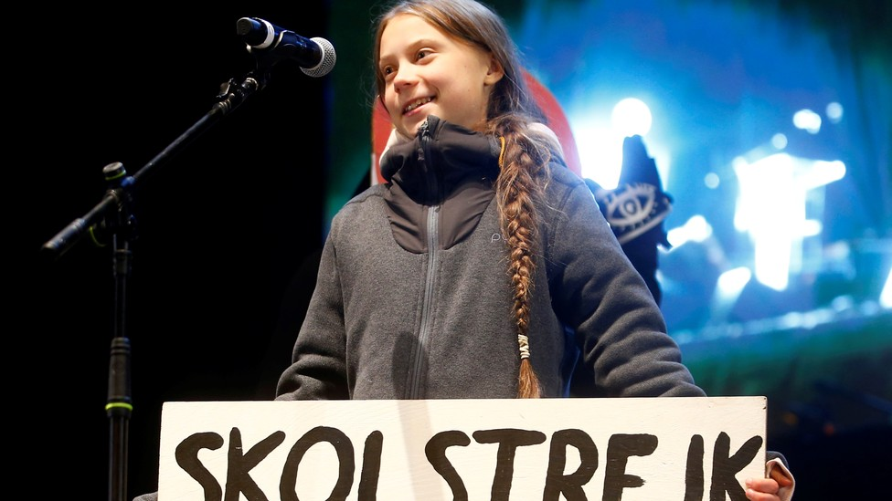 The climate-change activist Greta Thunberg delivers a speech at a climate-change protest march, as the COP25 climate summit is held in Madrid, Spain, on December 6, 2019.