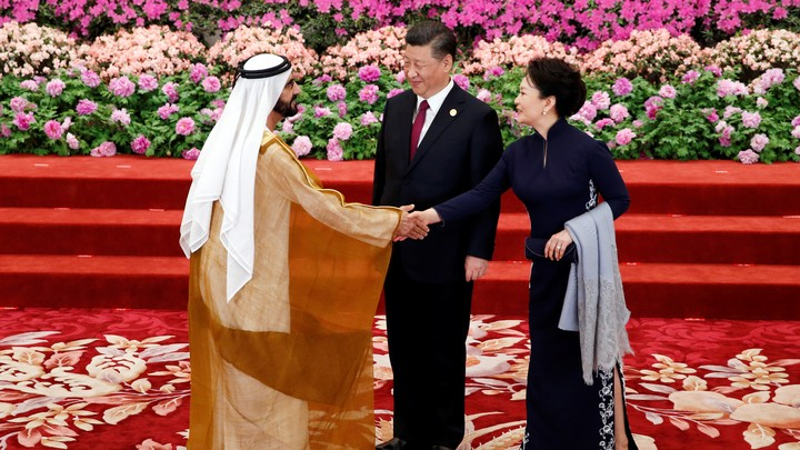 United Arab Emirates Vice President and Prime Minister Mohammed bin Rashid Al Maktoum arrives to a welcoming banquet hosted by Chinese President Xi Jinping on April 26, 2019