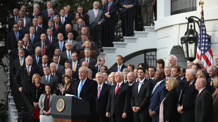 Trump appears with congressional Republicans at the White House.