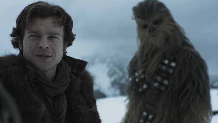 Still from the upcoming Star Wars spinoff movie, 'Solo,' featuring Han Solo and Chewbacca