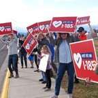 A photo of advocates in Helena, Montana, at a rally in support of a bill to protect the state's Medicaid expansion.