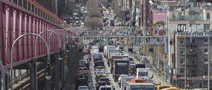 a photo of drivers entering Manhattan