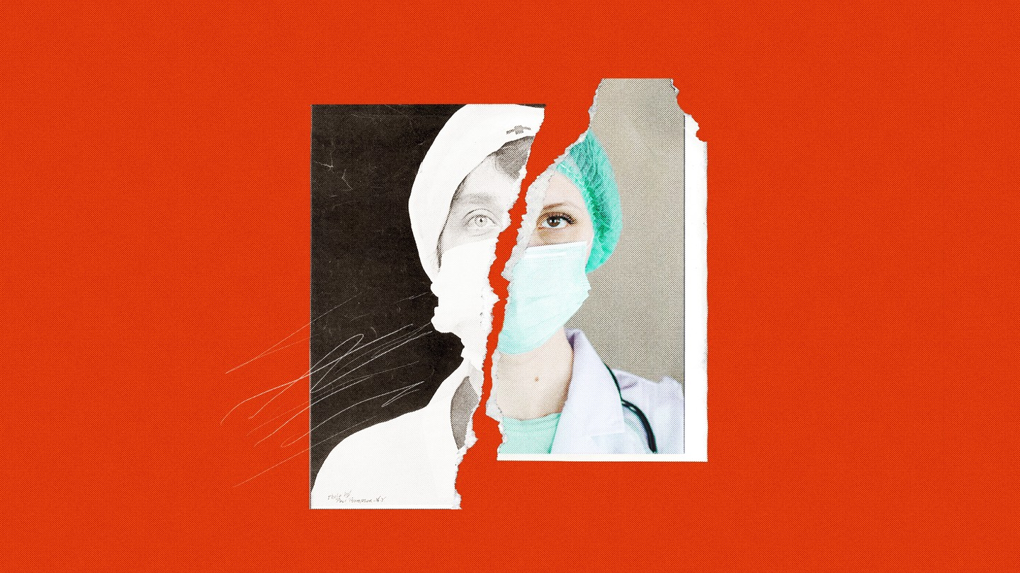 A photo torn in two on a red background - the black and white half is a nurse from the past and the color half a nurse from the present