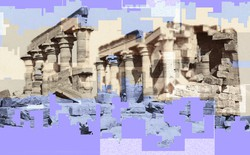 Digital art depicting pixelated ruins