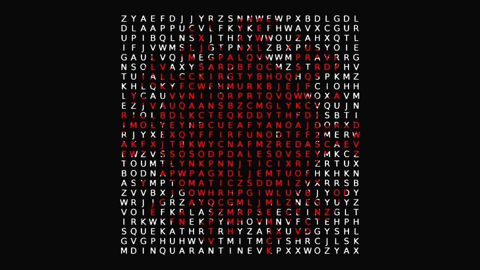 a word search for of pandemic terms
