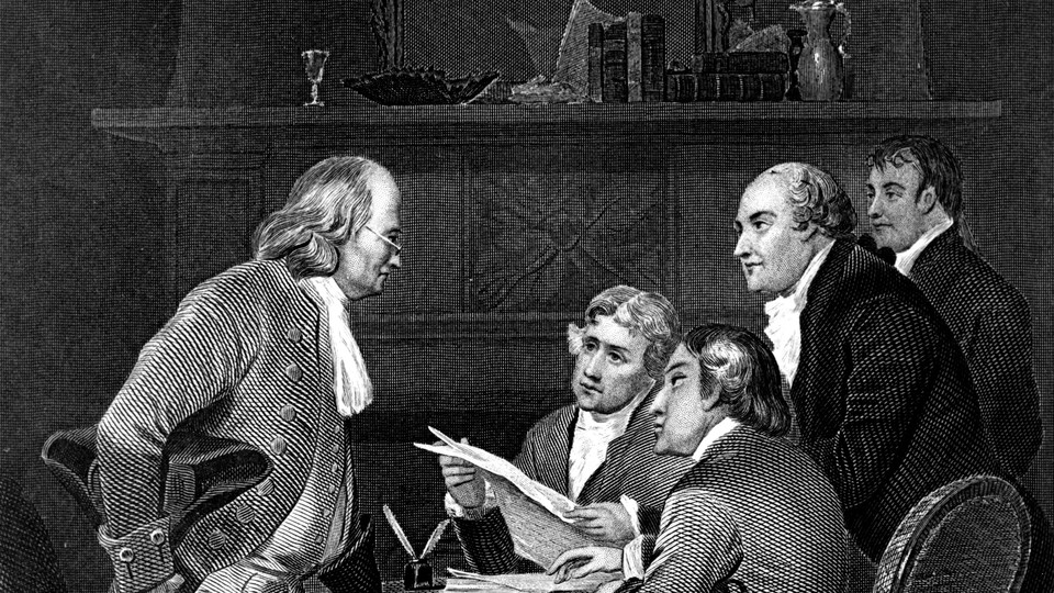 A black and white sketch of Benjamin Franklin, Thomas Jefferson, John Adams, Philip Livingston, and Roger Sherman drafting the Declaration of Independence.