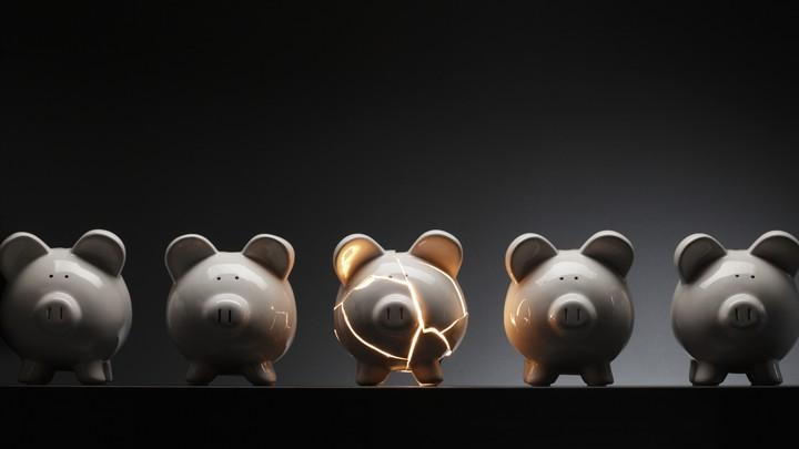 A cracked piggy bank