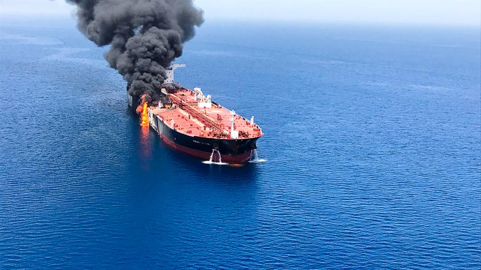 An oil tanker attacked at the Gulf of Oman